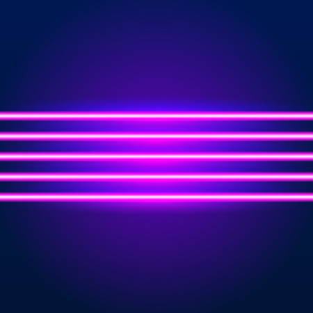 Bright neon lines background with 80s style and chrome letters Stock Illustratie