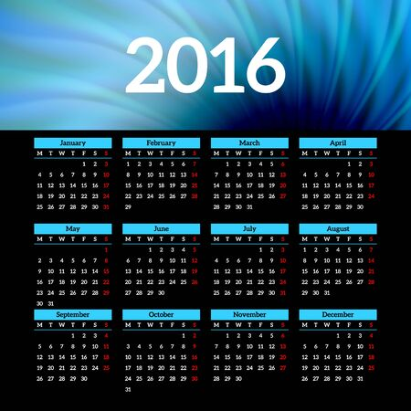 event planner: Calendar 2016 template design with header picture Illustration