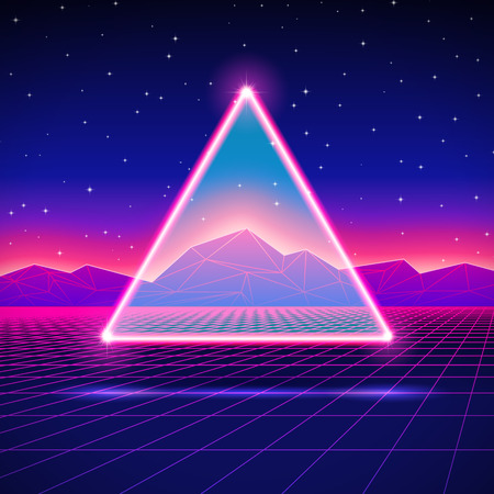 Retro styled futuristic landscape with triangle and shiny grid