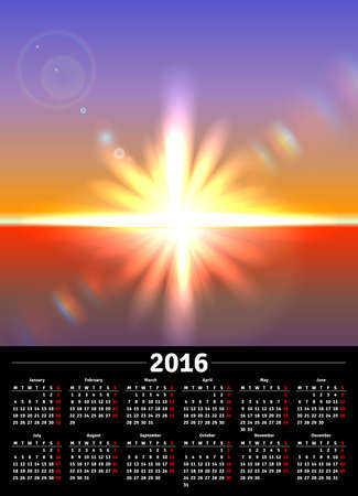 scenic: Calendar 2016 with scenic view of sunny landscape