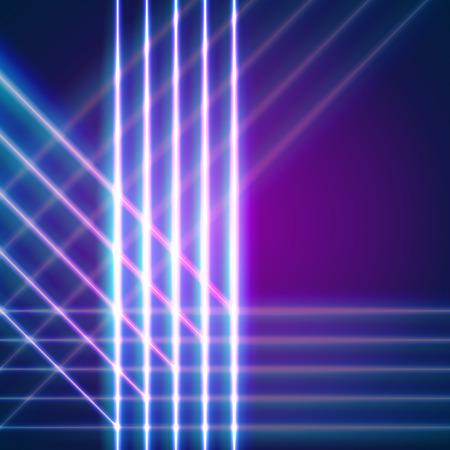 letras cromadas: Líneas de neón brillante de fondo con las letras del estilo 80s y cromo