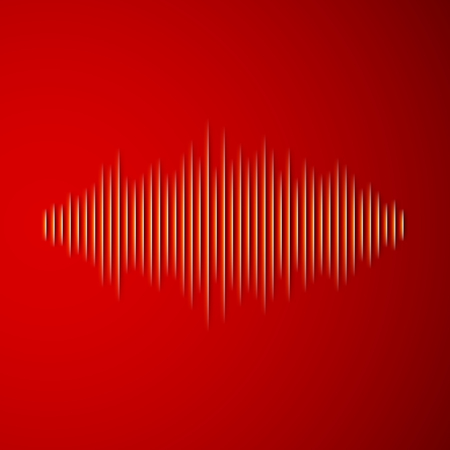 waveform: Paper cut sound waveform sign with shadow