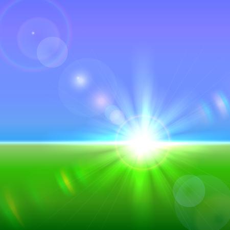 horizon: Vector de sol sobre el horizonte con llamaradas de la lente y la refracción Vectores