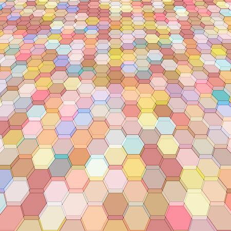 hex: Abstract background with colorful pink hex polygons Illustration