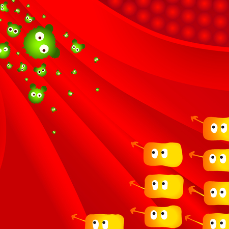 lymphocyte: Attack of illness bacteria against lymphocyte defense
