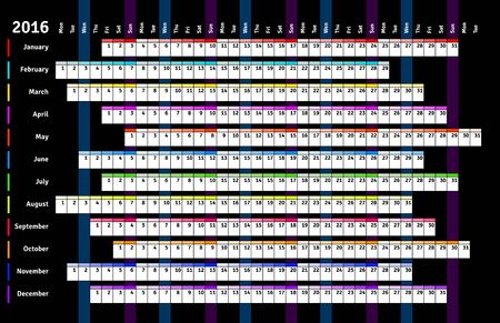 agenda: Black linear calendar 2016 with days and months color coding