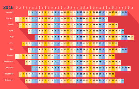 months of the year: Red flat styled linear calendar 2016 with long shadow Illustration