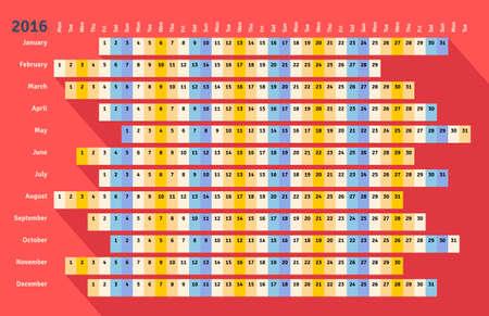 meses del a�o: Red plana de estilo calendario lineal 2016 con una larga sombra