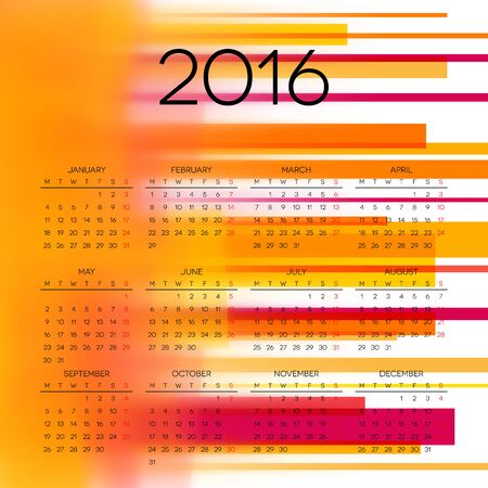 chronological: Calendar 2016 template design with header picture Illustration