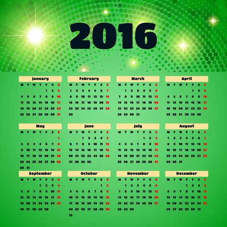 Calendar 2016 template design with header picture Illustration