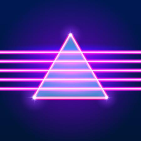 明るいネオン線 80 年代の背景スタイルと三角形