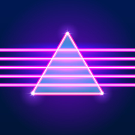 Bright neon lines background with 80s style and triangle Vectores