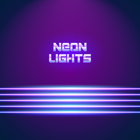 chrome letters: Bright neon lines background with 80s style and chrome letters Illustration