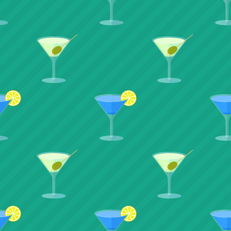 beach wrap: Seamless flat pattern with transparent cocktail glasses