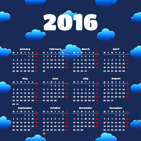 saturday night: Calendar 2016 template design with header picture Illustration