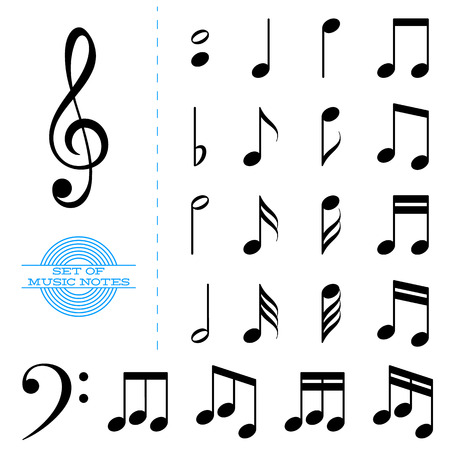 bass clef: Set of classic black music notes with key Illustration