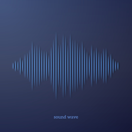 audio wave: Paper cut sound waveform sign with shadow