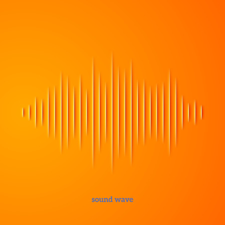 background orange: Paper cut sound waveform sign with shadow