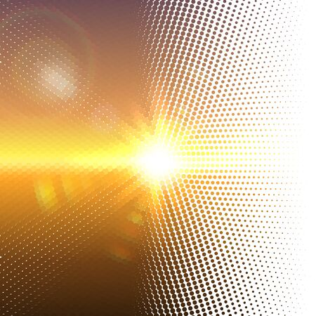 sun flares: Vector halftone dotted mosaic with sun flares and bokeh