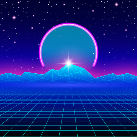 Retro styled futuristic landscape with neon arc and mountains