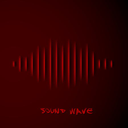 vibrations: Paper cut sound waveform sign with shadow