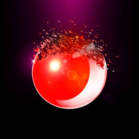 filtered: Red 3D ball with flares exploded into messy pieces