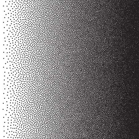 Stochastic raster halftone gradient print, black and white
