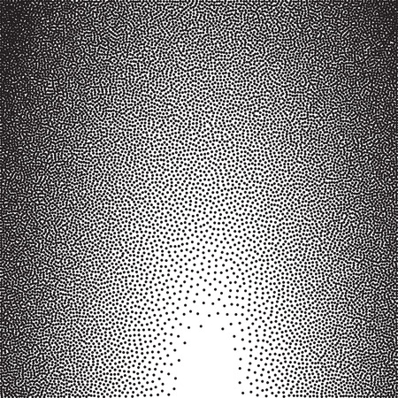 Stochastic raster halftone gradient print, black and white