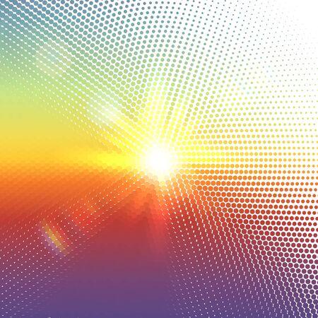 sol radiante: Vector de medias mosaico de puntos con las llamaradas solares y bokeh