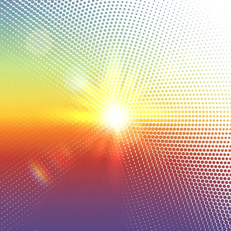 sunshine: Vector halftone dotted mosaic with sun flares and bokeh