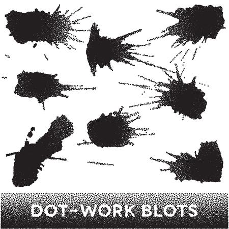 ink blots: Set of black ink blots made of dots