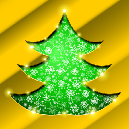 holes: Cutout Christmas tree with golden border, snowflakes and sparkles