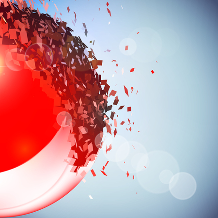 exploded: Red 3D ball with flares exploded into messy pieces