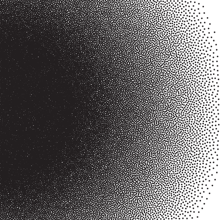 stochastic: Stochastic raster halftone gradient print, black and white