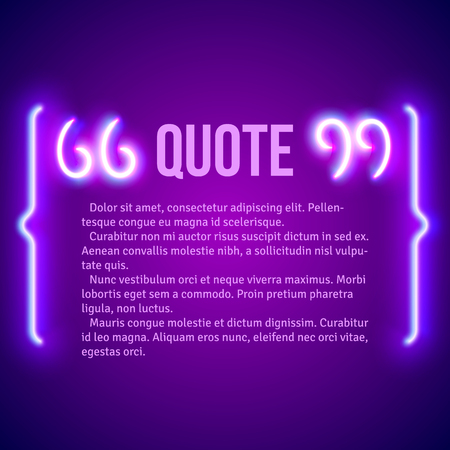 marks: Retro hipster neon glowing quote marks frame