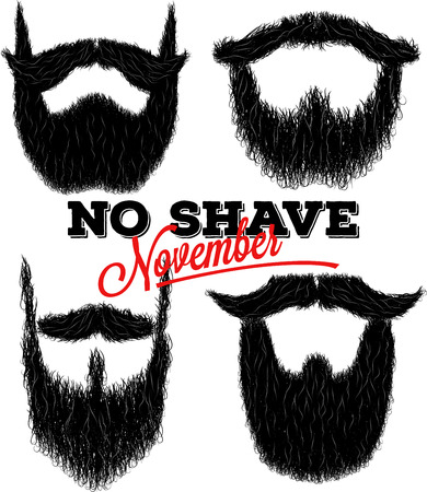 style goatee: Set of hairy curly hipster beard drawings for No Shave November