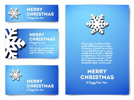 neige noel: Collection de bannières de Noël avec des flocons de neige et le texte