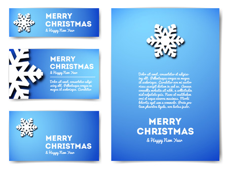 Collection of Christmas banners with snowflake and text