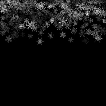 christmas star background: Snowfall with random snoflakes layers in the dark Illustration