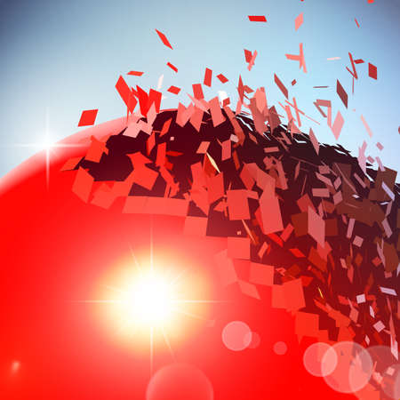 destructive: Red 3D ball with flares exploded into messy pieces