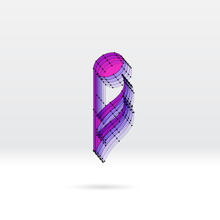 transparent 3d: Transparent 3D music note with dotted wire scheme