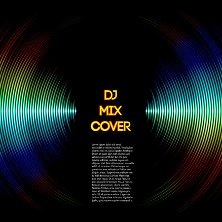 dj: DJ mix cover with music waveform as a vinyl grooves