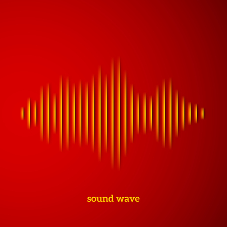 wavelength: Paper cut sound waveform sign with shadow