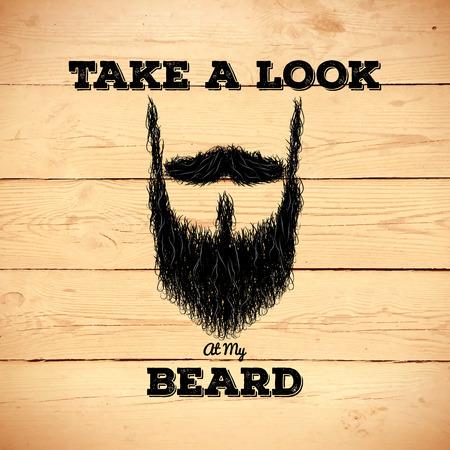 beard: Hairy hipster beard sign on old wooden planks Illustration
