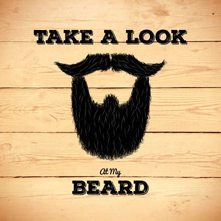 old sign: Hairy hipster beard sign on old wooden planks Illustration