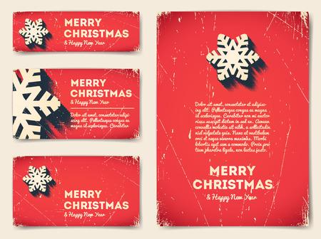 estrellas de navidad: Colección de carteles de Navidad con copos de nieve y el texto
