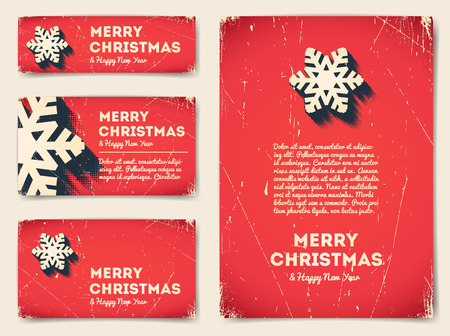 christmas stars: Collection of Christmas banners with snowflake and text