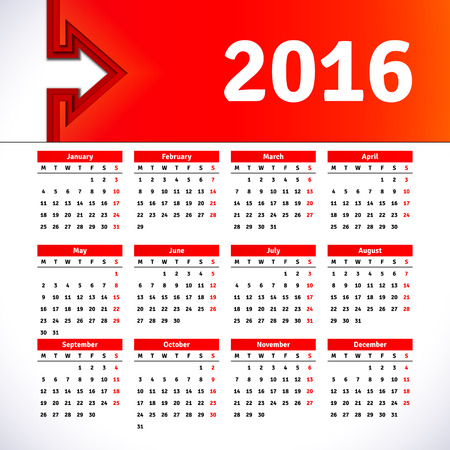 desk calendar: Calendar 2016 template design with header picture Illustration