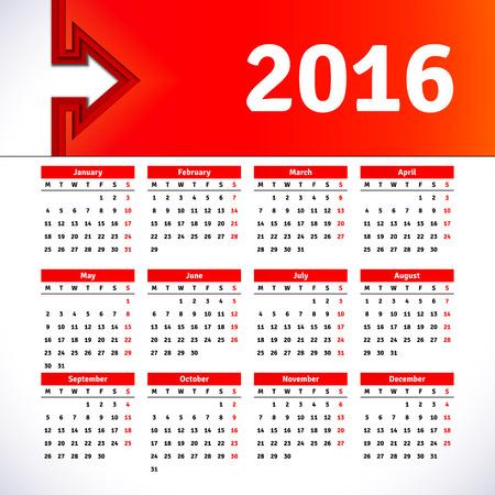 kalendarz: Kalendarz 2016 szablon z obrazka nagłówka