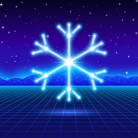 80s: Christmas card with neon snowflake and 80s computer background